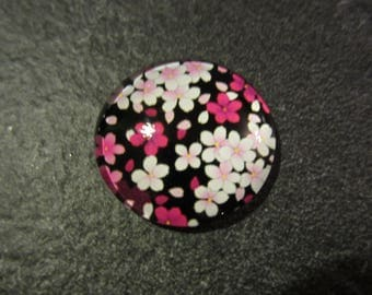 Pink floral round cabochons on Black 2.3 cm