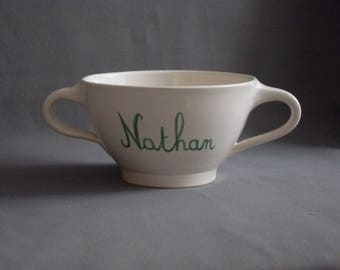 Large bowl turned hand personalized with two handles / green name