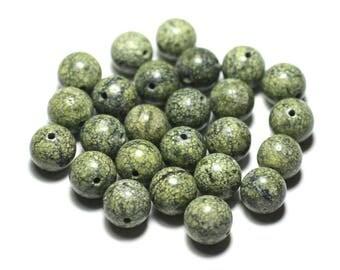 4pc - beads of stone - Serpentine 9-11mm khaki yellow balls - 8741140023253