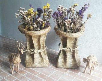 Wicker Vase, Straw Hand-woven Seagrass