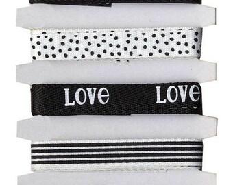 Matching printed ribbons Black & White 6 x 1 m - Artemio - Ref 11005281