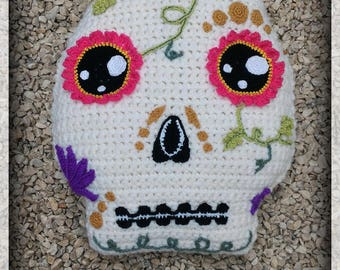 Crochet skull cushion Mexican girly