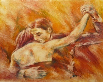 Abrazo tango - peinture pastel sec sur papier épais - couple amoureux qui danse homme femme mouvement amour étreinte romantique sépia rouge