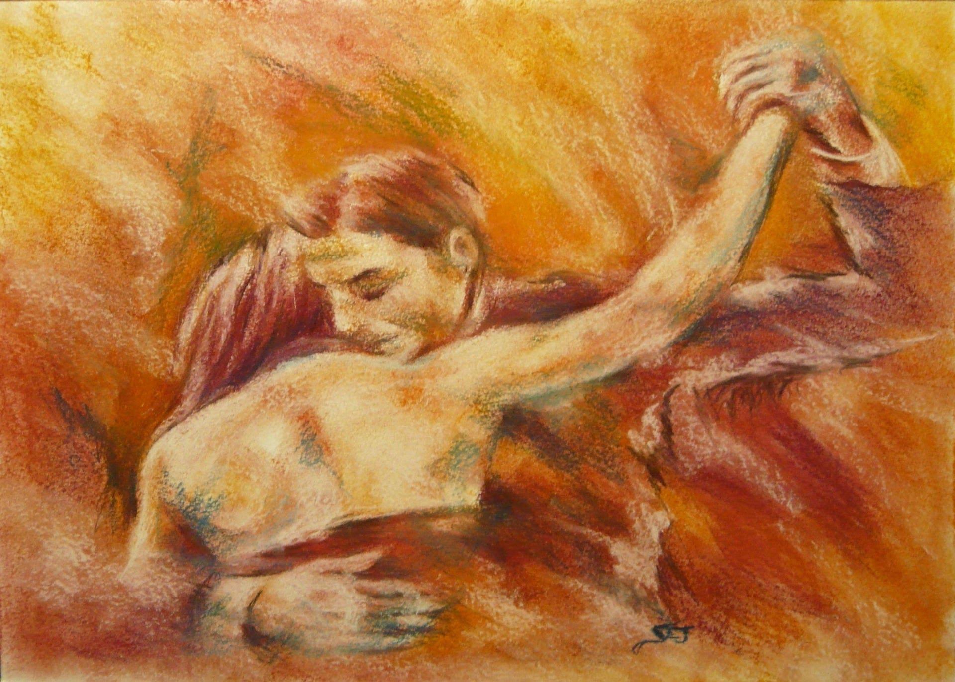 Abrazo tango peinture pastel sec sur papier pais couple - Peinture au pastel sec ...