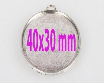 40 x 30 mm 1 pendant cabochons silver paste