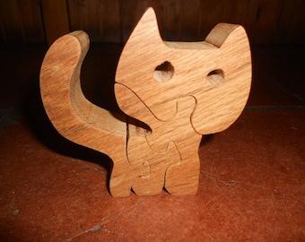 Puzzle cat shaped mahogany wood
