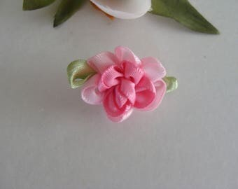 Pink 1 set of 2 pink color 2 tones fabric flower appliques