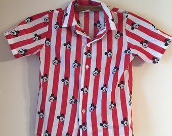 Mickey Mouse Vintage Disney Striped Shirt 7 Boys Girls Walt Disney Red White