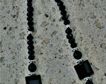Black and Silvertone Sparkle necklace