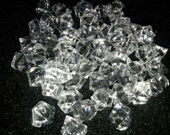 SET OF 10 DECORATIVE DIAMOND ASYMMETRICAL ACRYLIC STONES
