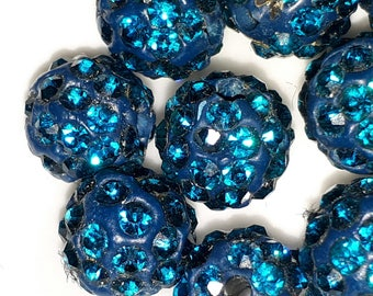 1 shamballa 10 mm glass Pearl very nice quality Blue