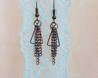 Triangle wire chain dangle earrings in bronze color Nickel free