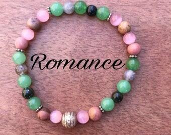 Romance : Green Aventurine Rose Quartz Moss Agate Rhodonite Pink Cats eye