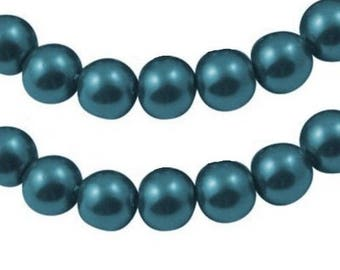 Wholesale lot of 100 Prussian blue glass pearl beads, 6mm