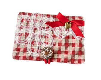 Case / wallet ° lunch (rustic) red gingham fabric