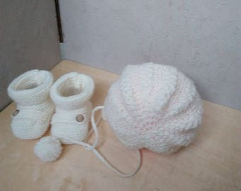 baby bonnet + ecru wool booties size 6/9 months