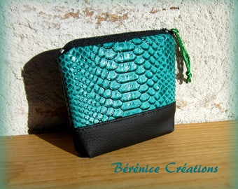 "Wallet ""joyful color"" emerald green python"