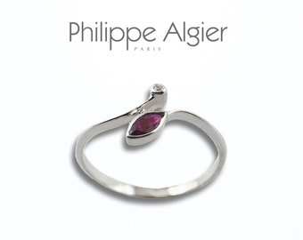 Ruby diamond 18 k white gold ring