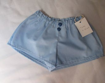 elastic shorts for baby 9-12 months in light blue cotton