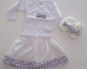 """gift set Bodysuit, skirt and booties """"Violet"""" baby 6 months"""