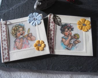Set of 2 double cards, labels, girl, child, ribbon flowers