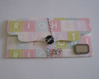 Gift pouch, Bill, letter, alphabet, kraft tag
