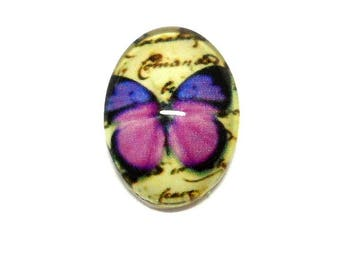 Cabochon glass over Purple Butterfly 18 x 13