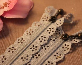 Zipper lace grey not separable 20 cm x 1