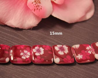 5 Pearl shell square beads pink 15x15mm