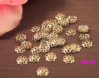 Set of 200 caps openwork flowers 6 mm silver beads
