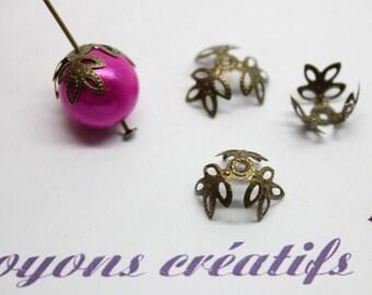 Lot 100 cups flowers 14mm bronze beads 12-14mm - SC12995-