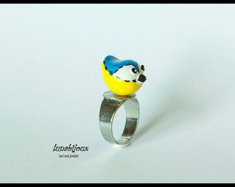 Ring charm bird my little blue tit door happiness cold porcelain