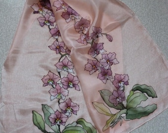 Scarf silk - orchids-baked in oven
