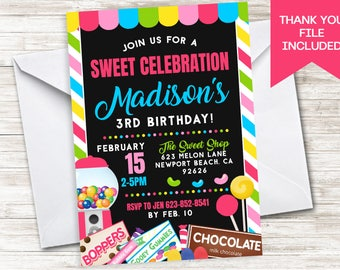 Candy Invitation Invite Birthday Party Digital Girls 5x7 Sweet Shoppe Candyland Pink Chalkboard