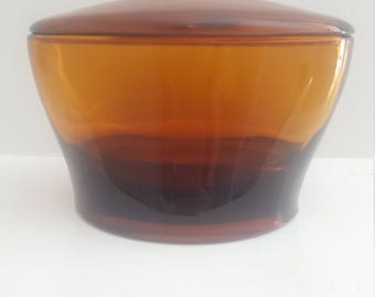 Amber glass bowl with lid