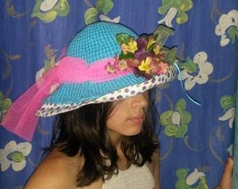 girl cotton print and turquoise crochet Hat