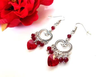 Heart Earrings with red Swarovski Crystal beads