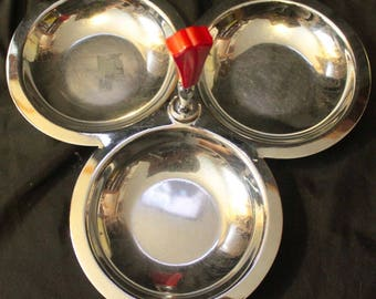 Vintage 1940's-1950's MId-Century Three Part Candy Tid Bit Tray Chrome with RED BAKELITE Handle