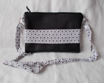pouch/bag faux leather and black cotton rice white wedding/evening graphic