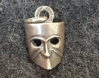 Carnevale mask charm, Italian silver.