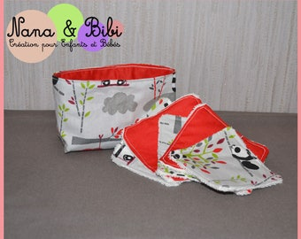 5 reusable wipes with a basket - PANDA
