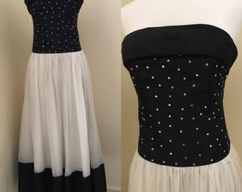 vintage 1960s strapless evening gown size 6, party dress, black and white dress