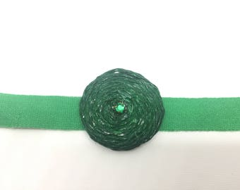 Green cotton choker and paper spiral with shiny stone