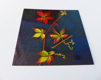 Green and red autumn leaf square card