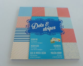 paper pad of 30 sheets of dots and stripes polka dots and stripes 15 cm square