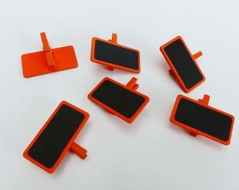 6 mini clothespins slate rectangle orange