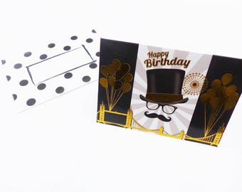mustache man bridge bridge Hat gold bezel birthday card