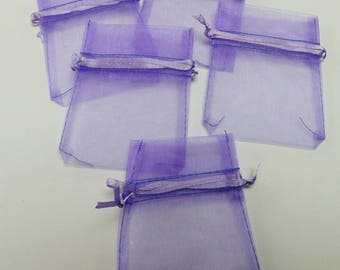 5 bags purple organza with satin ribbon sleeves