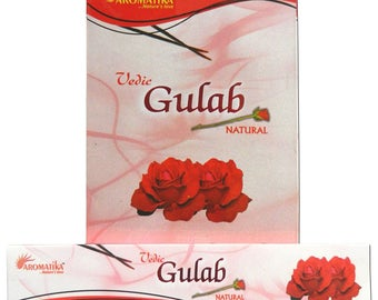 Box of 15 gr Aromatika Gulab pink premium Indian incense sticks
