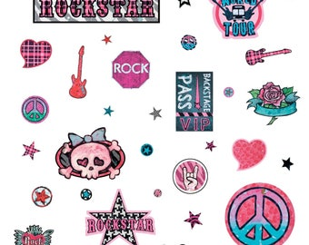 WALL DECALS GIRL * ROCK AND ROLL GIRL * 4 BOARDS